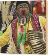 Pow Wow Chicken Dancer Wood Print