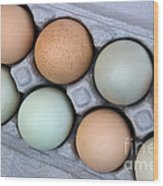 Chicken Eggs In Carton Wood Print