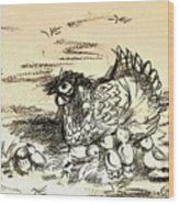 Chicken Family  Wood Print
