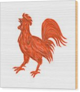 Chicken Rooster Crowing Drawing Wood Print