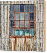 Chicken Wire Window Wood Print