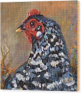 Chicken With A Pearl Ear Ring Wood Print