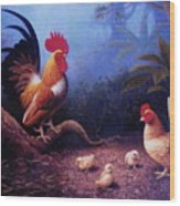 Chickens And The Fogs Wood Print