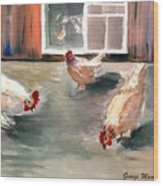 Chickens In The Barnyard Wood Print
