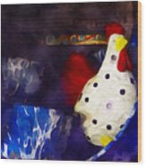 Chickens In The Kitchen Wood Print