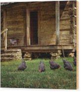 Chickens - Log House - Farm Wood Print