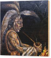 Chief At The Campfire Wood Print