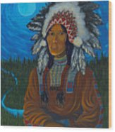 Chief Before Campfire Wood Print