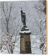Chief John Logan Statue In The Snow Wood Print