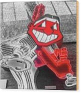 Chief Wahoo Sluggin Wood Print