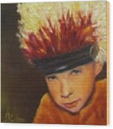 Chief Wannabee #2, Native American Indian Child   Wood Print