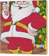Chiefs Santa Claus Wood Print