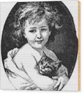 Child & Pet, 19th Century Wood Print