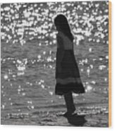 Child By Water Wood Print