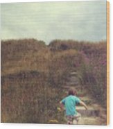 Child On Stairs On Beach Wood Print