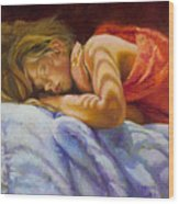 Child Sleeping Print Wall Art Room Decor Wood Print