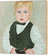 Child With A Toy Wood Print by Ethel Vrana