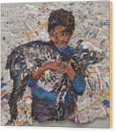 Child With Goat On Handmade Paper Wood Print