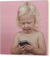 Child With Smartphone  Wood Print