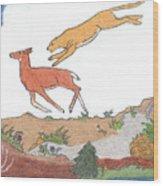 Childhood Drawing Cougar Attacking Deer Wood Print