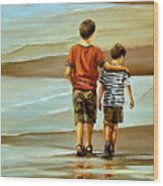 Childhood Shore Wood Print