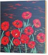 Childlike Poppies Wood Print by Alanna Hug-McAnnally