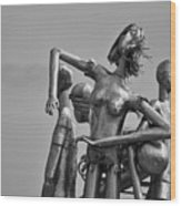 Children At Play Statue B W Wood Print