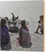 Children At The Pond 2 Wood Print