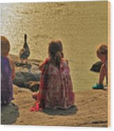 Children At The Pond 4 Wood Print