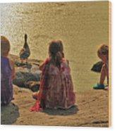 Children At The Pond 4 Wood Print