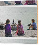 Children At The Pond Triptych Wood Print