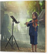 Children In Folk Costumes Playing Violin In Thailand Wood Print