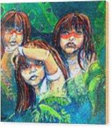 Children Of The Jungle Wood Print