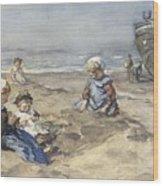 Children On The Beach Wood Print