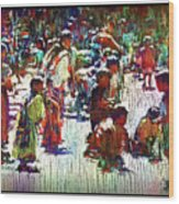 Children Picking Up Candy Wood Print