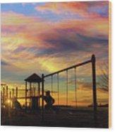 Children Playground At Sunset Wood Print