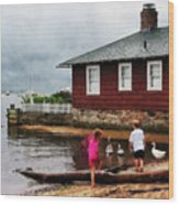 Children Playing At Harbor Essex Ct Wood Print