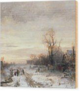 Children Playing In A Winter Landscape Wood Print