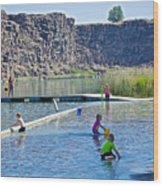 Children Playing In Dierkes Lake In Snake River Above Shoshone Falls Near Twin Falls-idaho  Wood Print