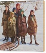 Children With A Sled Nikolai Petrovich Bogdanov-belsky Wood Print