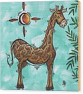 Childrens Nursery Art Original Giraffe Painting Playful By Madart Wood Print