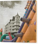Childrens Play Areas Contrast With The Victorian Elegance Of The Grand Hotel In Llandudno Wales Uk Wood Print