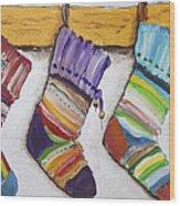 Children's  Socks For Christmas Gifts Wood Print