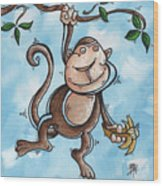 Childrens Whimsical Nursery Art Original Monkey Painting Monkey Buttons By Madart Wood Print
