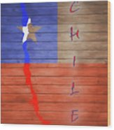 Chile Rustic Map On Wood Wood Print