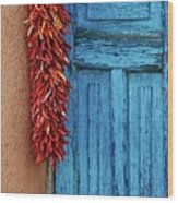 Chili Peppers and Door Panel Wood Print