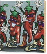 Chili Peppers Gang Wood Print