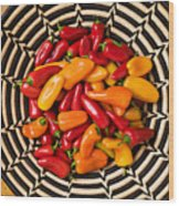 Chili Peppers In Basket  Wood Print