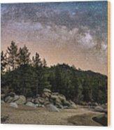 Chimney Beach With Milky Way Wood Print