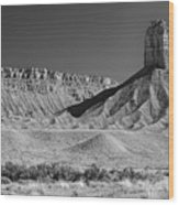 Chimney Rock In Black And White - Towaoc Colorado Wood Print